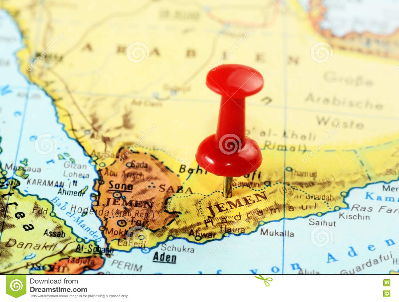Jemen Map Red Pin Stock Photo Image Of Business East 70805066