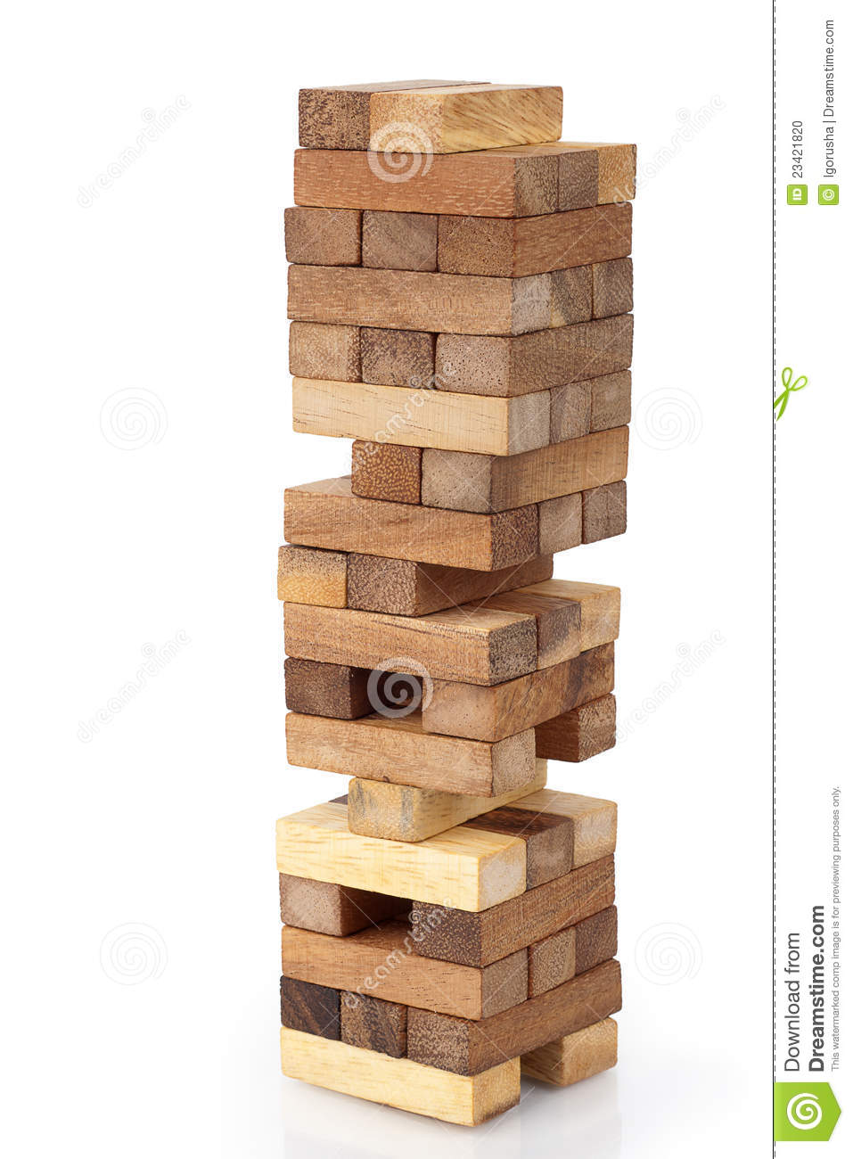Jenga, blocks of wood on white background.
