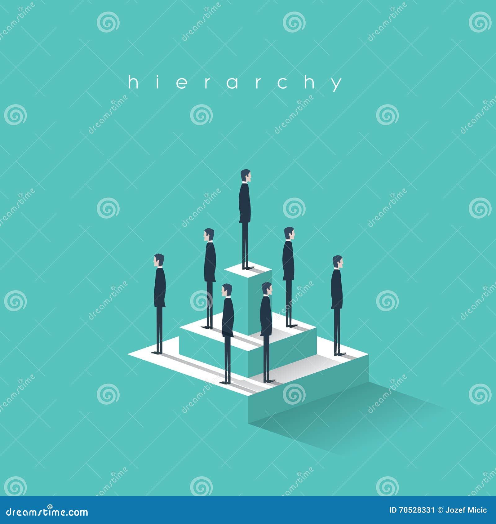 Jerarquía del negocio en concepto de la compañía con los hombres de negocios que se colocan en una pirámide Estructura corporativ