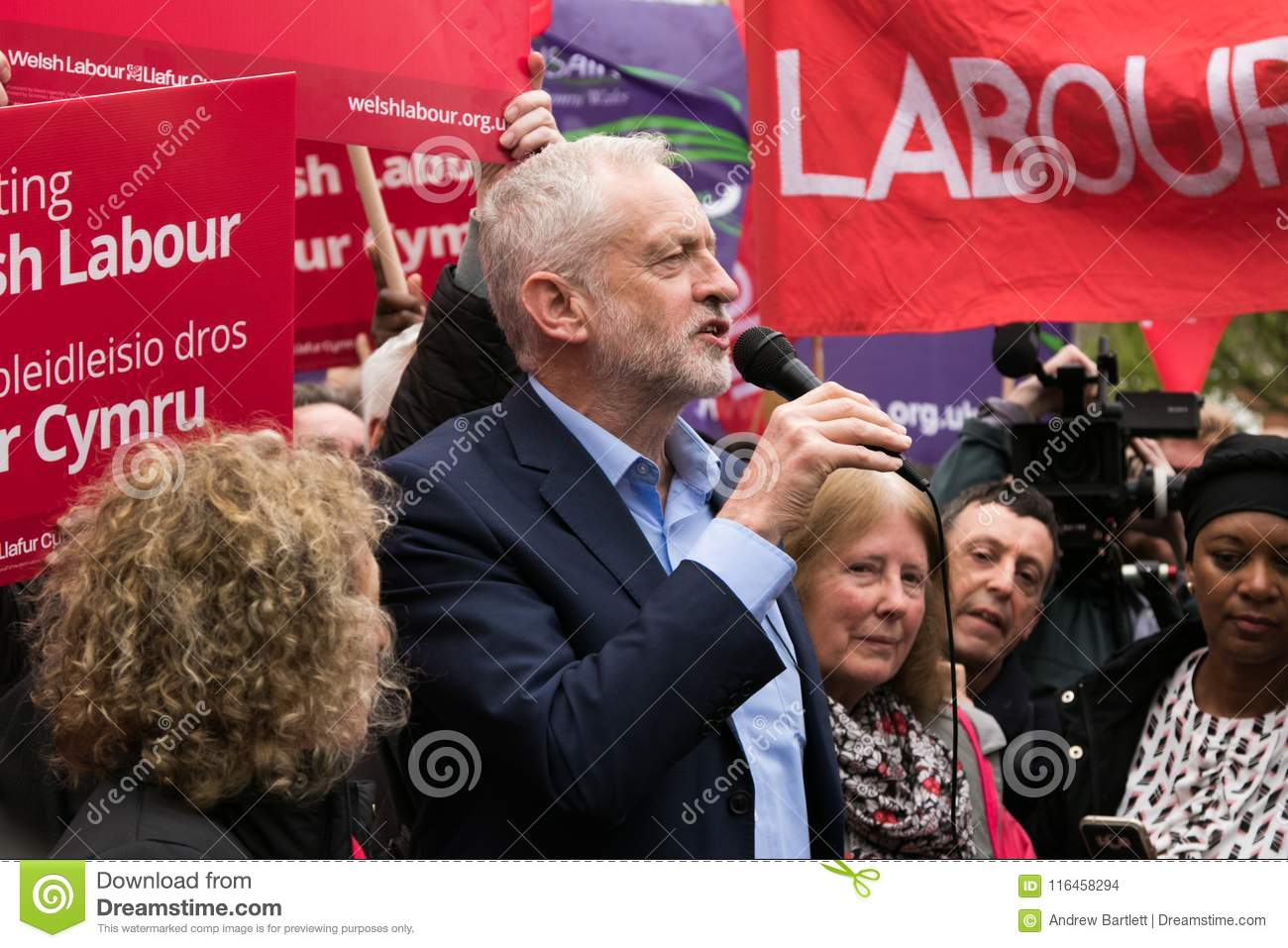 Jeremy Corbyn visits Whitchurch Common, Cardiff, South Wales, UK.