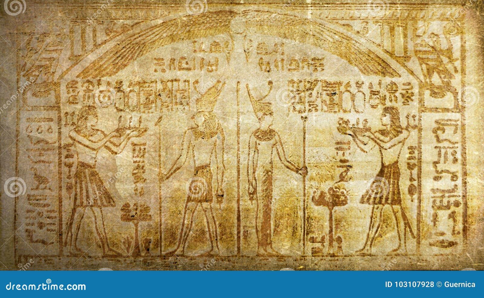 Jeroglíficos egipcios antiguos de la historia del vintage del Grunge