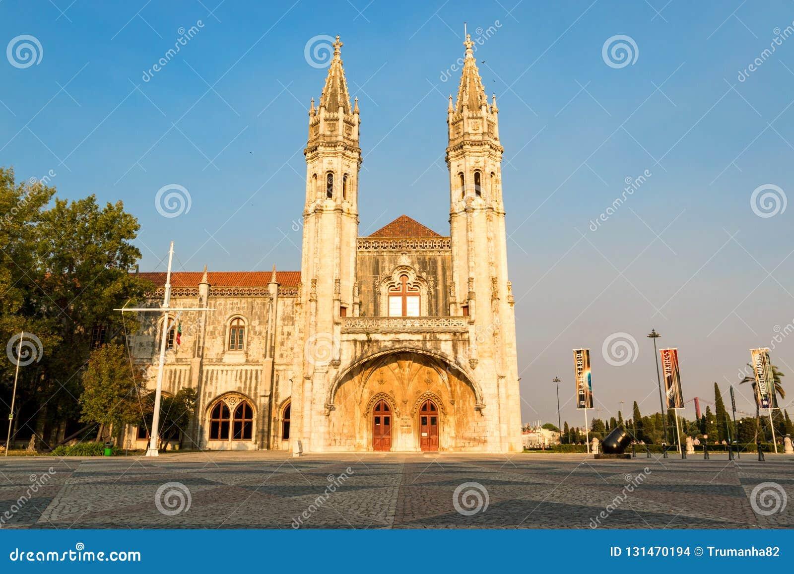Jeronimos-Kloster in Belem, Lissabon, Portugal an der Dämmerung