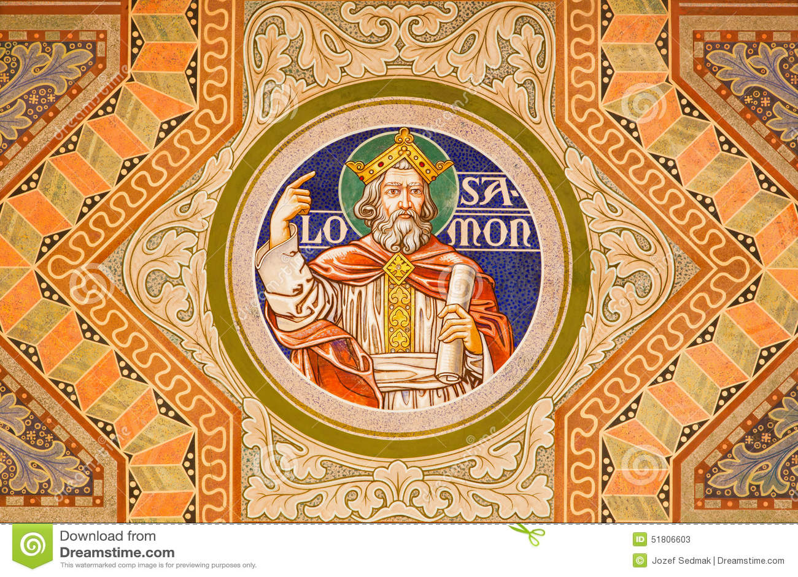 Jerozolima - królewiątko Salomon Maluje na suficie Ewangelicki Luterański kościół wniebowstąpienie
