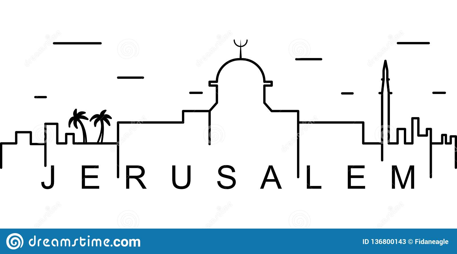 Jerozolimska kontur ikona Może używać dla sieci, logo, mobilny app, UI, UX