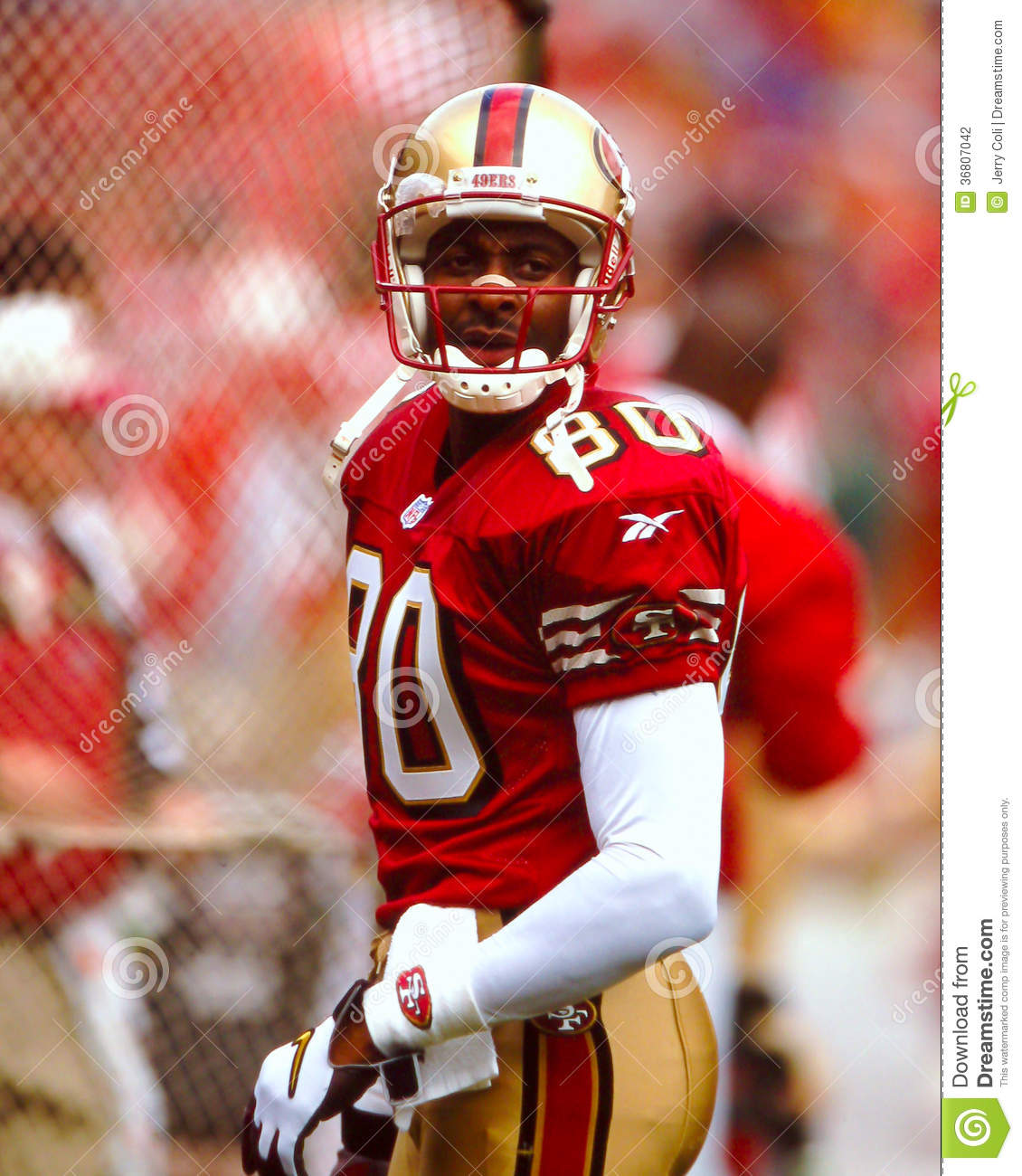 Jerry Rice Editorial Photography Image Of Athlete Helmet