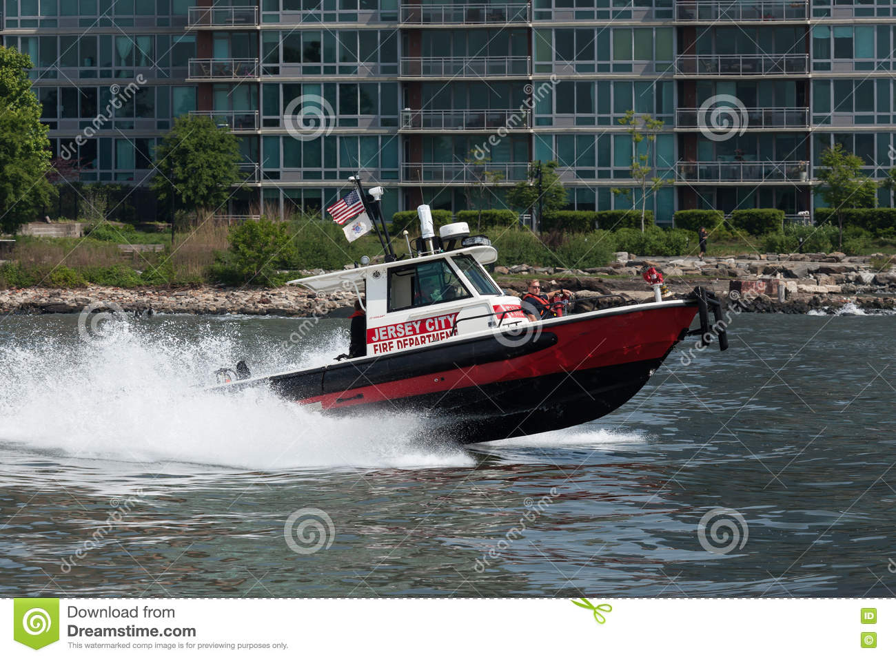 Jersey City Fire Department Boat Editorial Photography - Image of