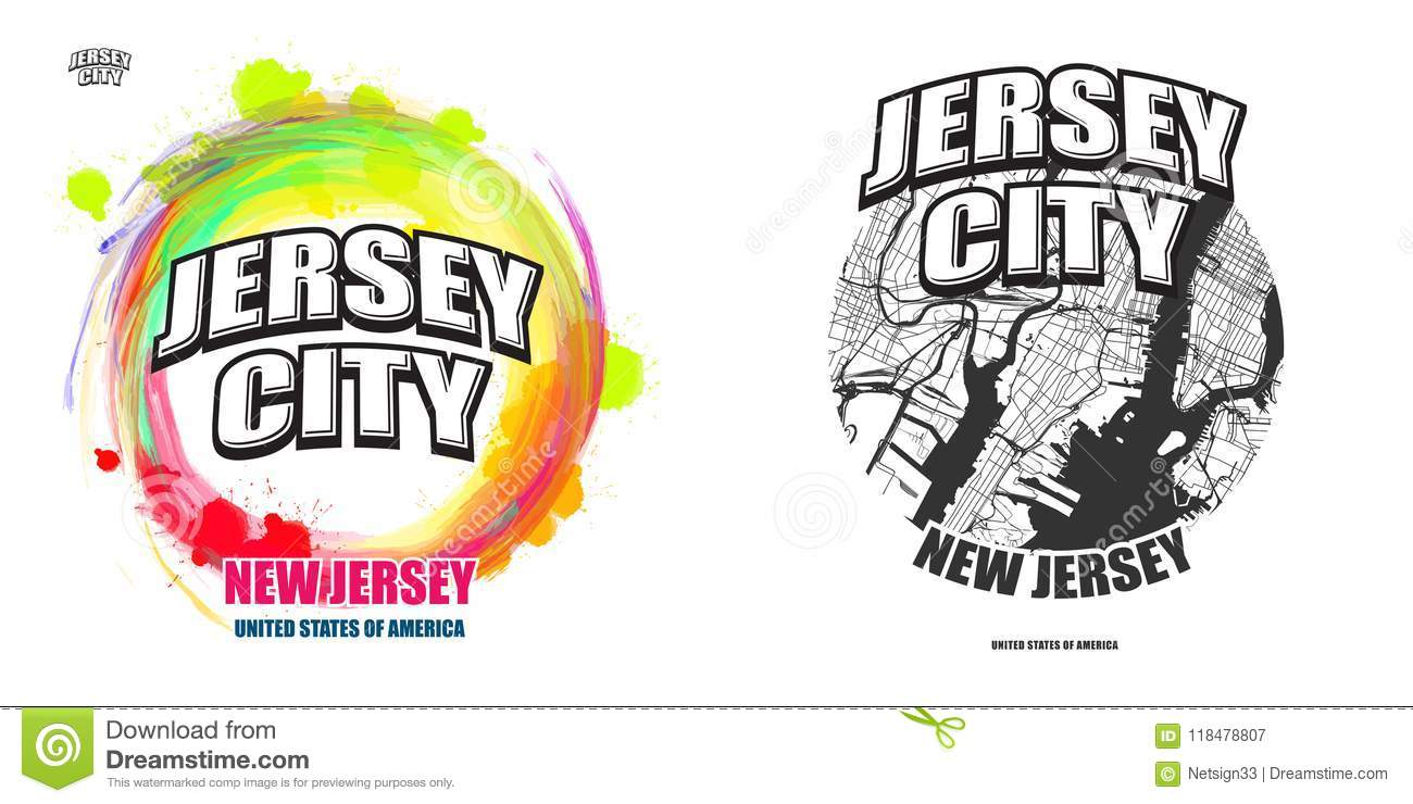 Jersey City New Jersey Two Logo Artworks Stock Vector