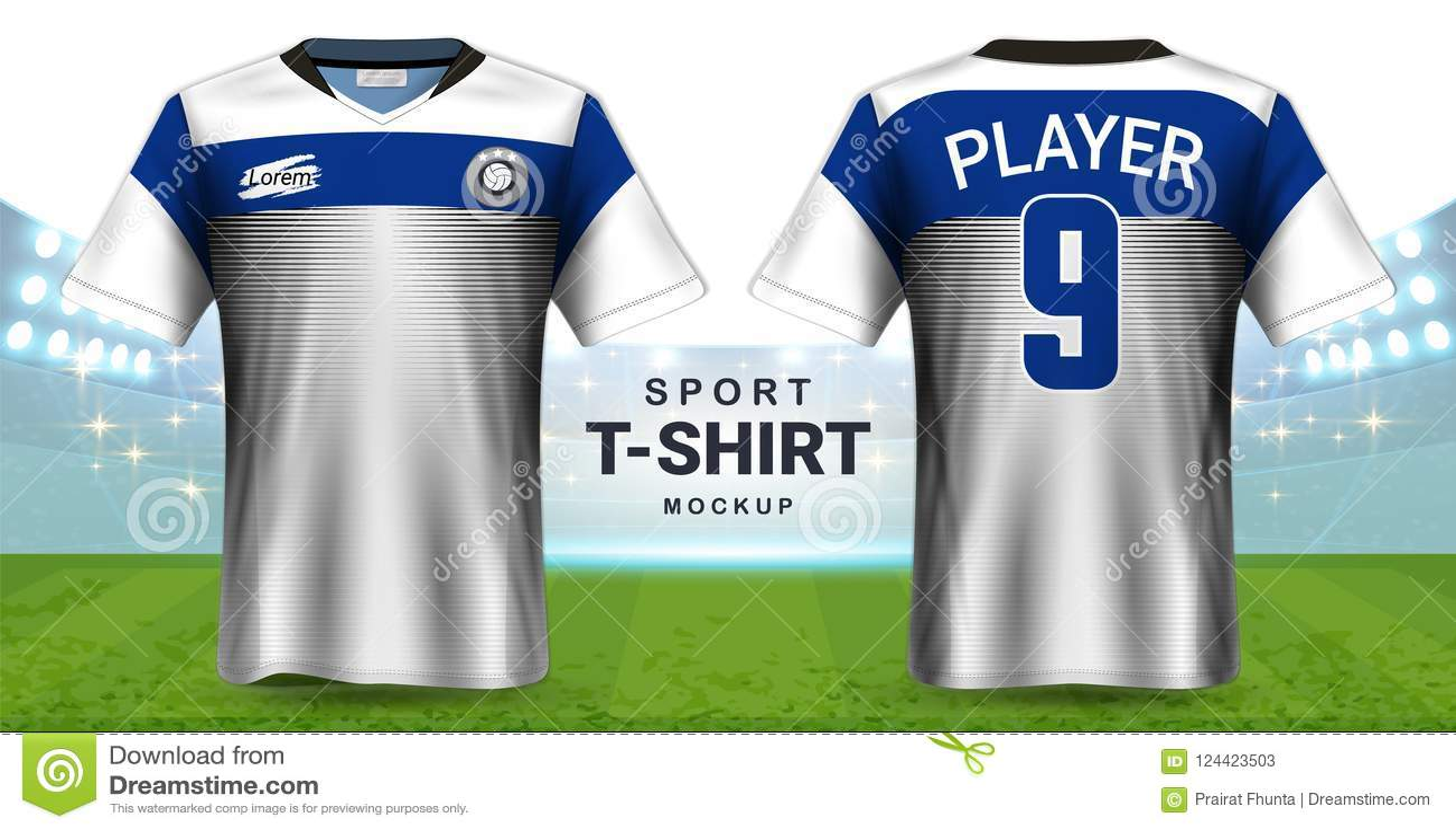 Jersey de fútbol y plantilla de la maqueta de la camiseta de la ropa de deportes, opinión delantera y trasera del diseño gráfico