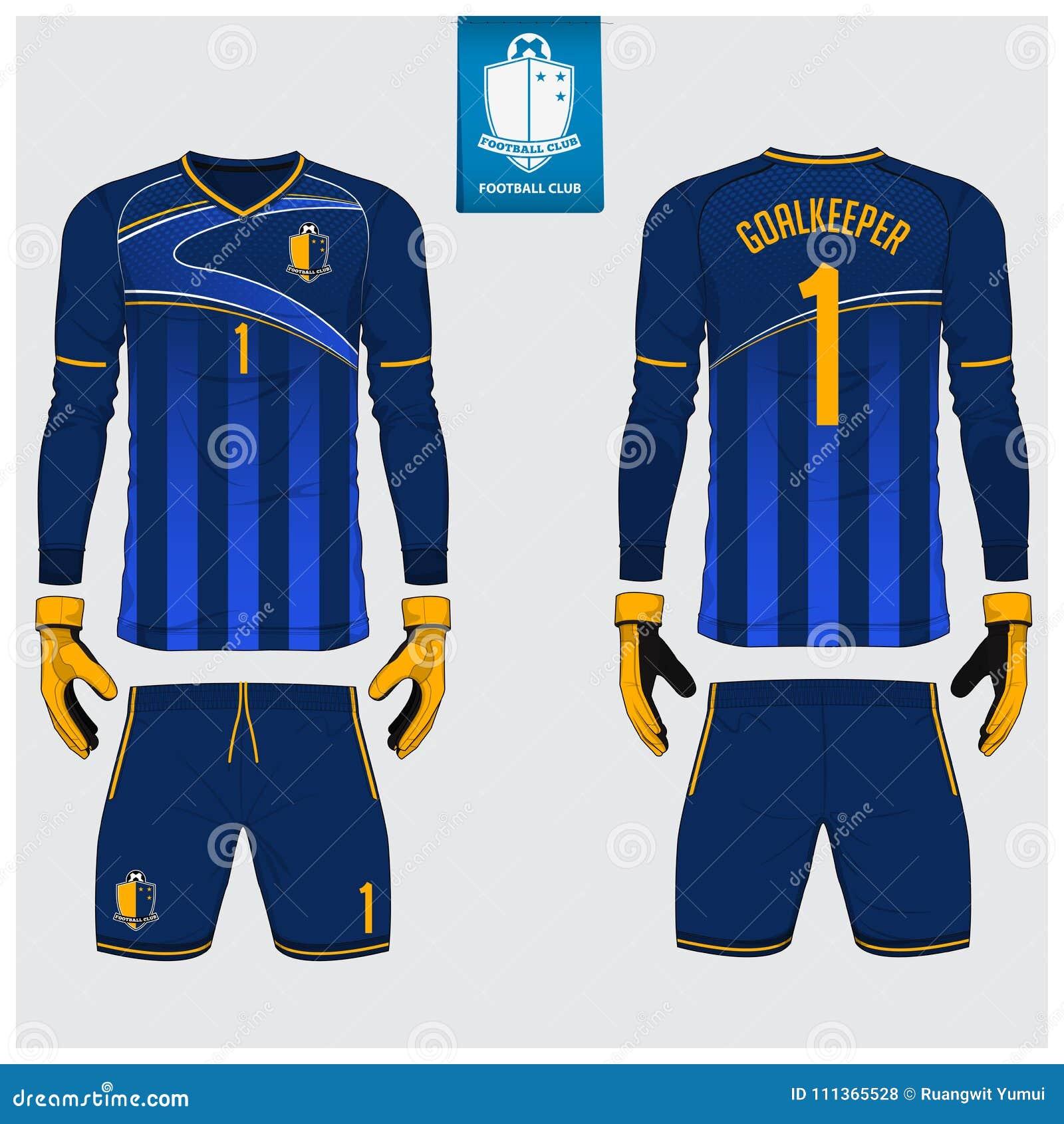 Jersey del portero o equipo del fútbol, jersey largo de la manga, diseño de la plantilla del guante del portero Mofa de la camise