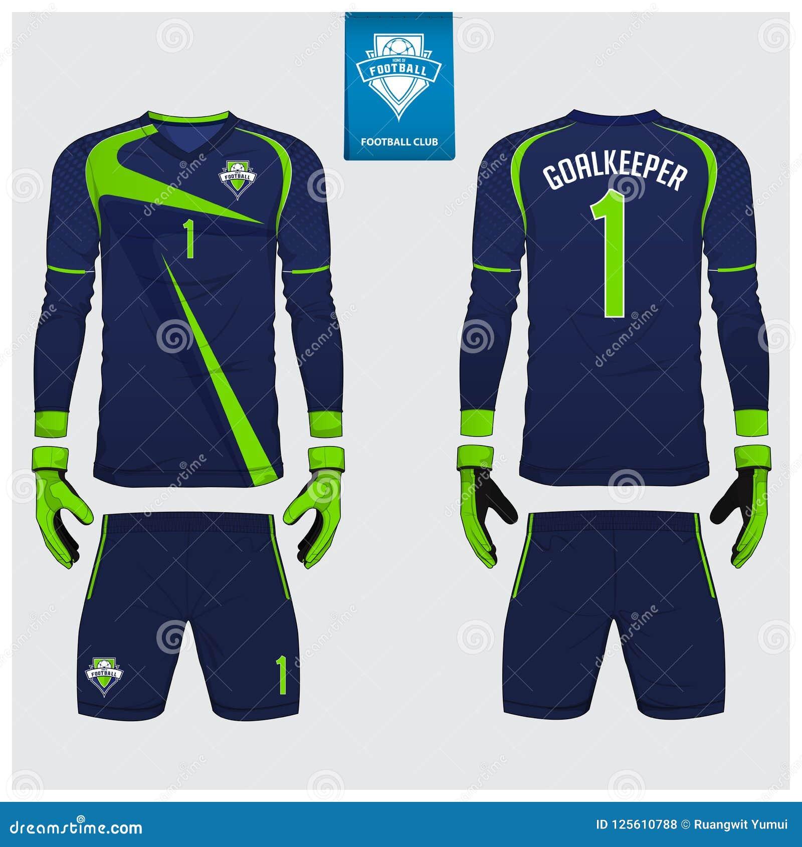 Jersey del portiere o corredo di calcio, jersey lungo della manica, progettazione del modello del guanto del portiere Derisione d
