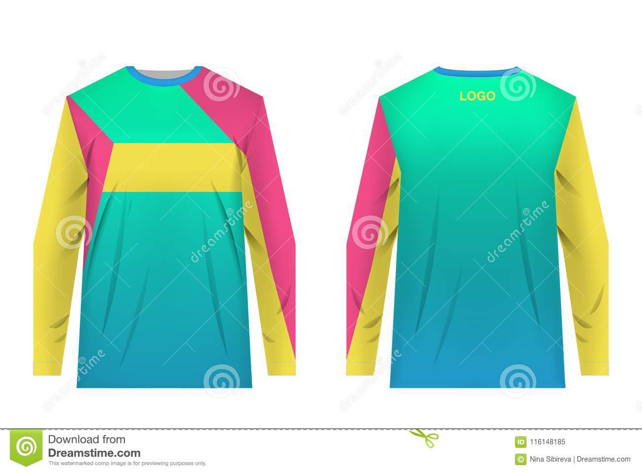 a8c18e1ec Jersey design for extreme cycling. Mountain bike jersey. Vector. Sublimation  printing. Template. Teal gradient. Yellow and red geometry.