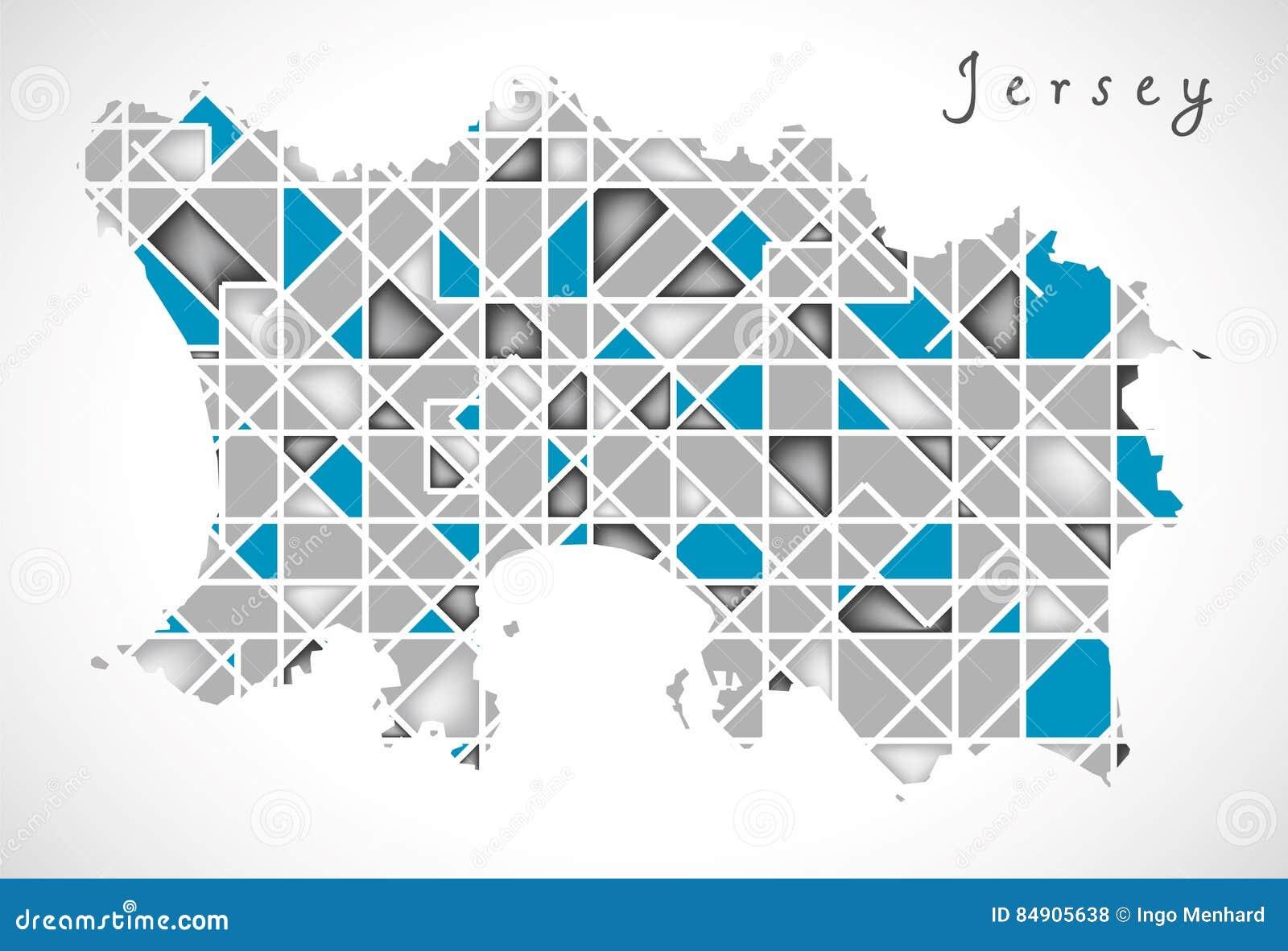 Jersey Map Crystal Diamond Style Artwork Stock Illustration ... on