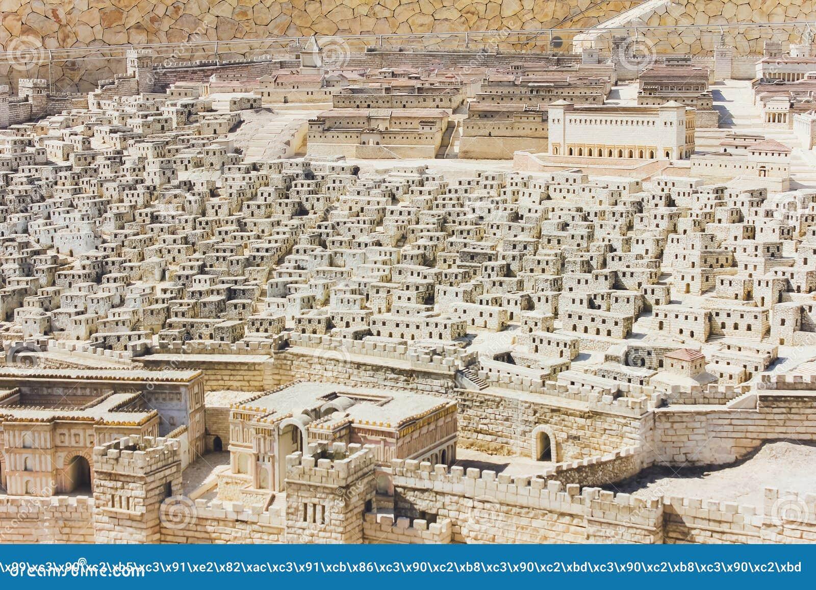 JERUSALÉM, ISRAEL - 13 DE OUTUBRO DE 2018: O modelo do Jerusalém no segundo período do templo