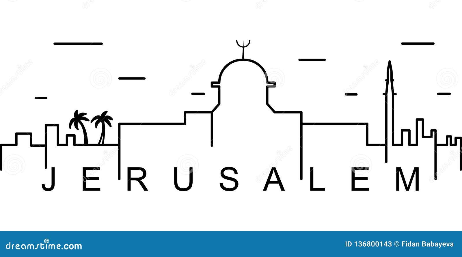 Jerusalem översiktssymbol Kan användas för rengöringsduken, logoen, den mobila appen, UI, UX