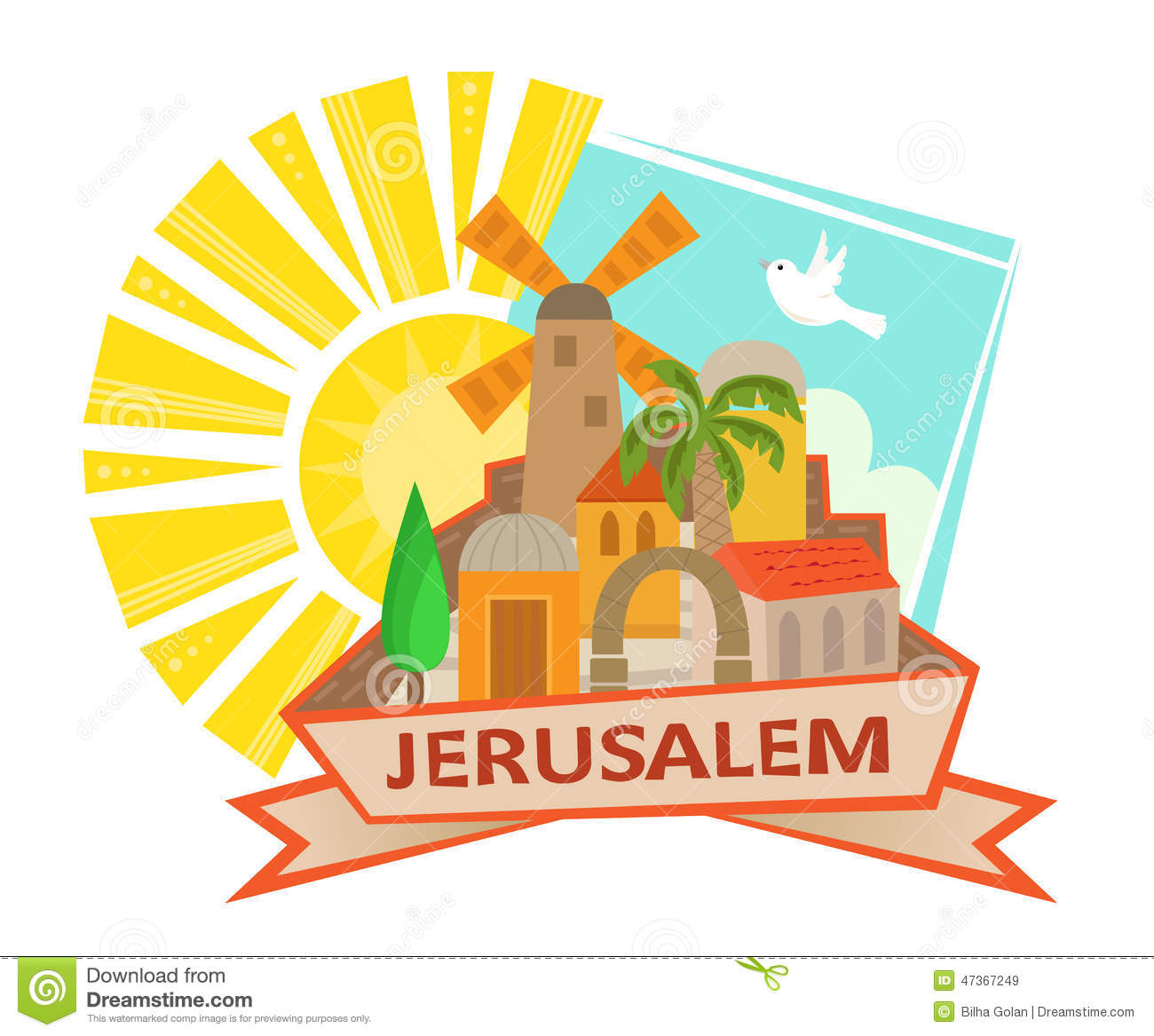 Cute clip art of Jerusalem with a sun and a dove in the background and ...
