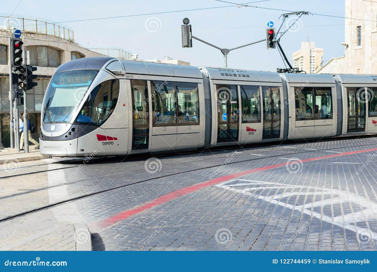 JERUSALEM, ISRAEL - APRIL 2017: The Jerusalem Light Rail is a l