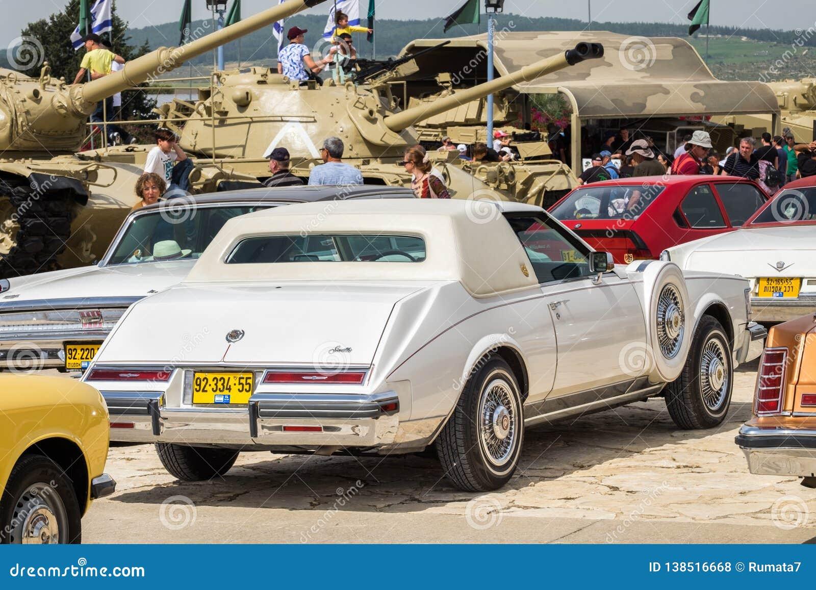 Vintage White Oldsmobile Seville 1970s Presented On Car Show
