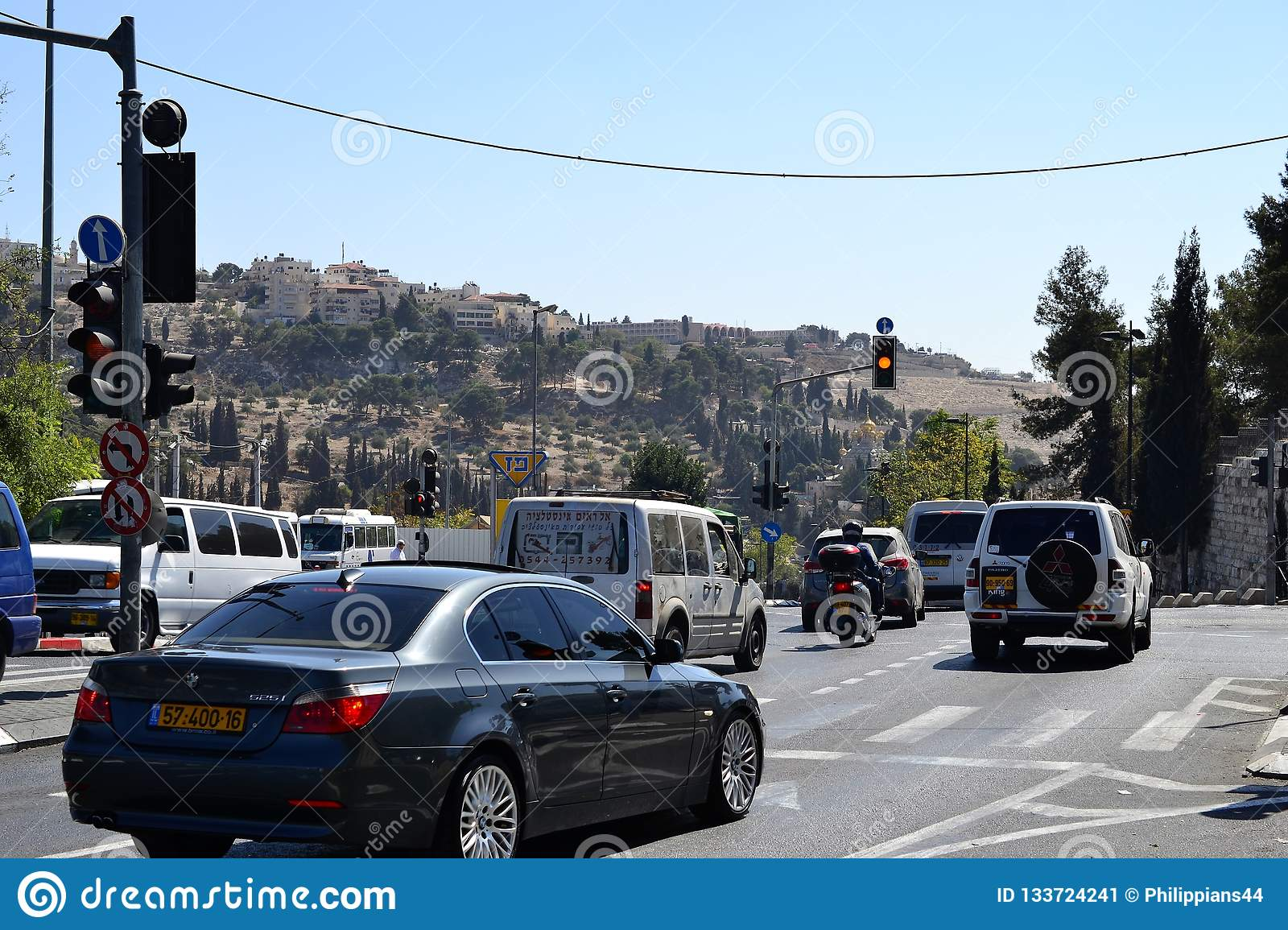 Jerusalem, Israel, cars in the east part of the city, Mount of Olives in the background, close to old city