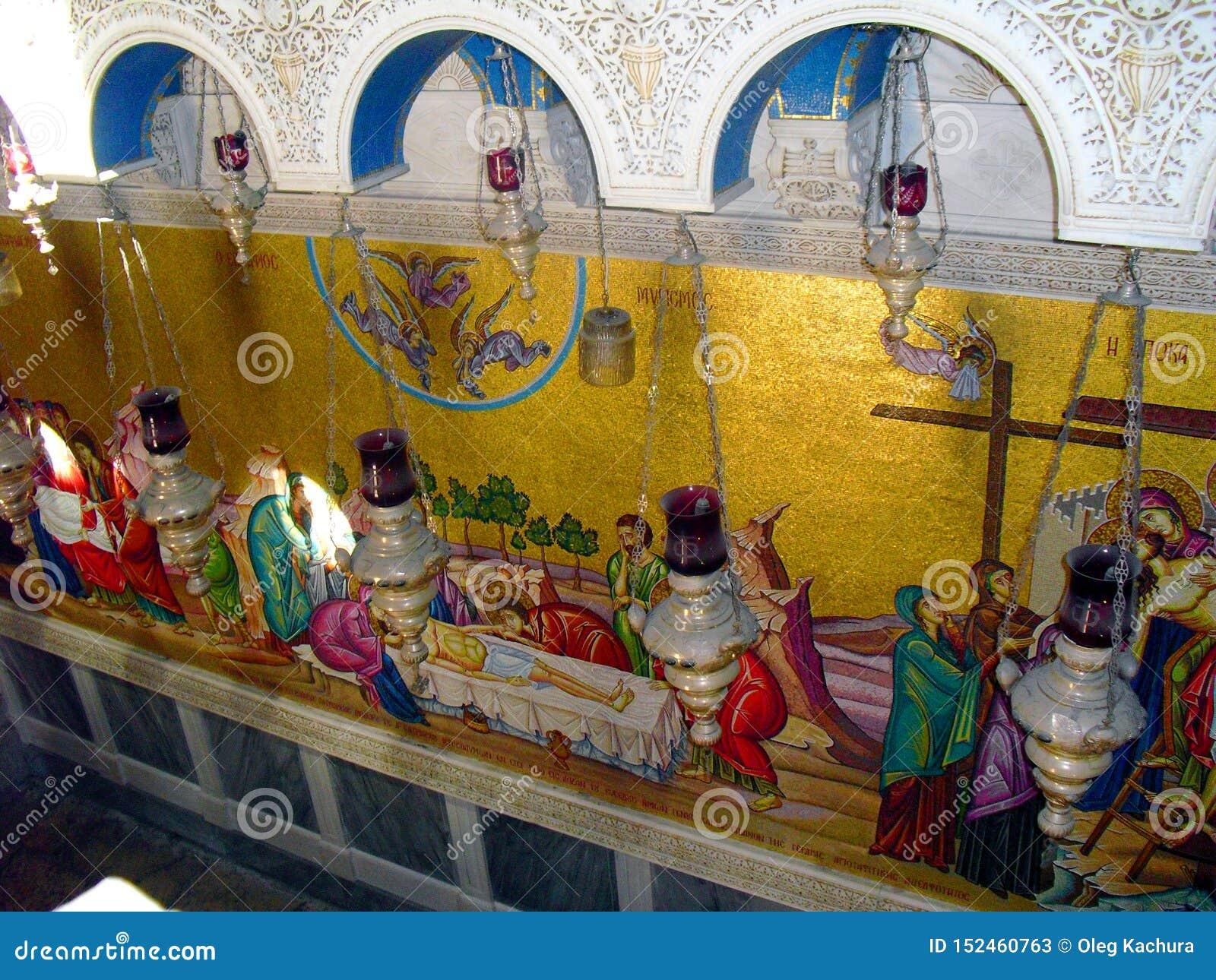 JERUSALEM ISRAEL Church av helgedomen begraver Sikt inom