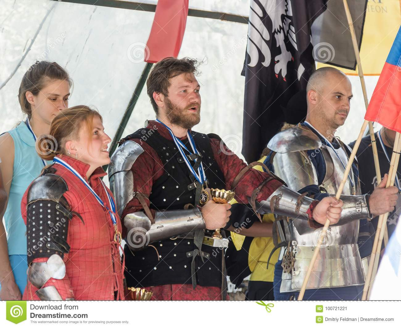 Knights - the winners of the tournament sing the hymn of their country at the festival `Knights of Jerusalem` in Jerusalem, Israel