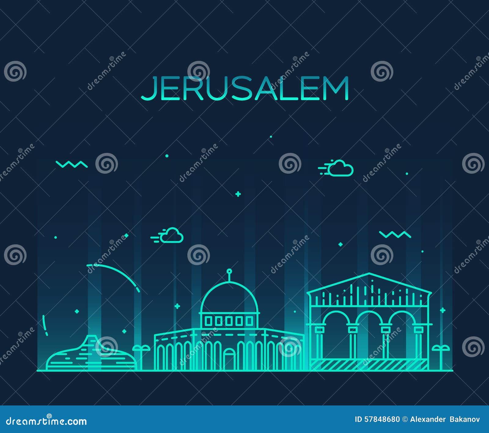 Line Art Jerusalem : Jerusalem skyline trendy vector linear style stock