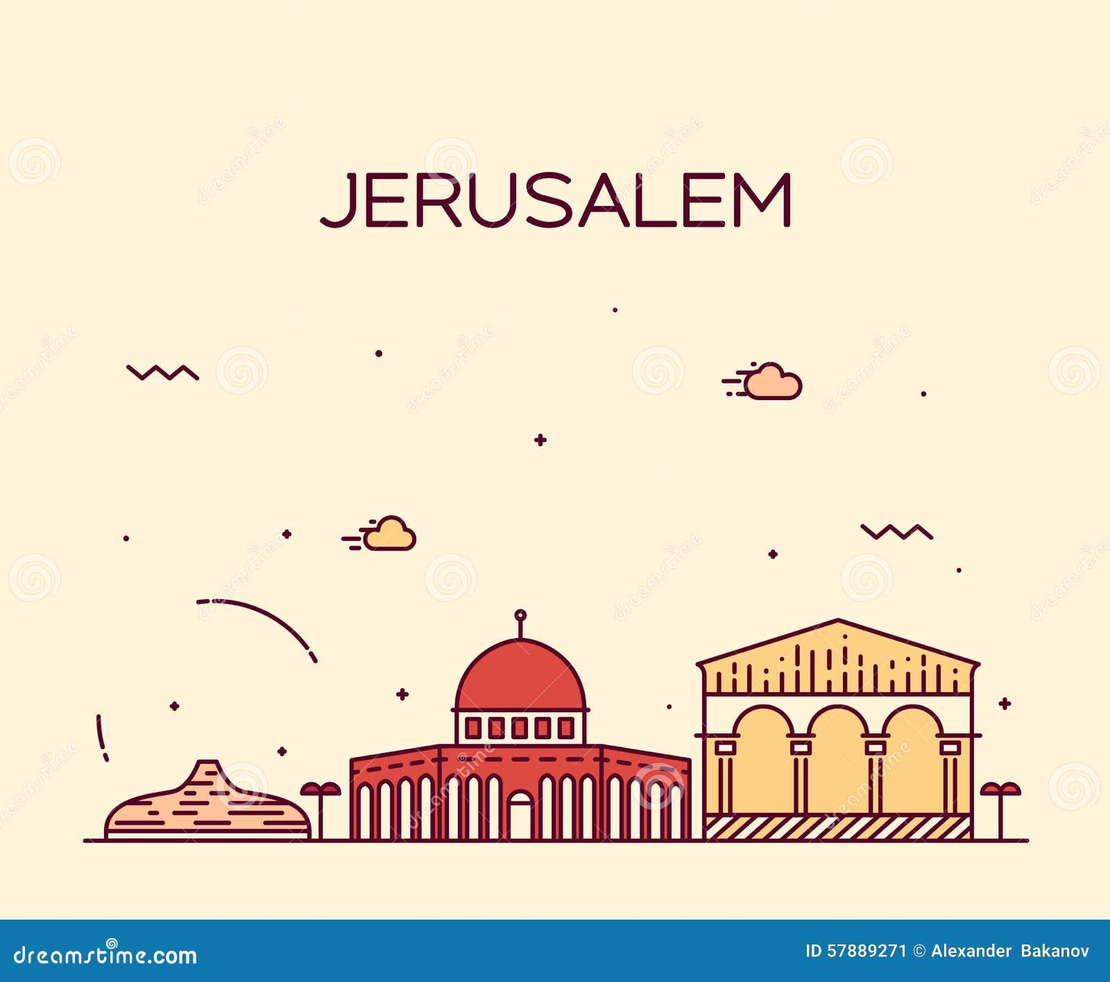 Line Drawing Jerusalem : Jerusalem skyline trendy vector linear style stock