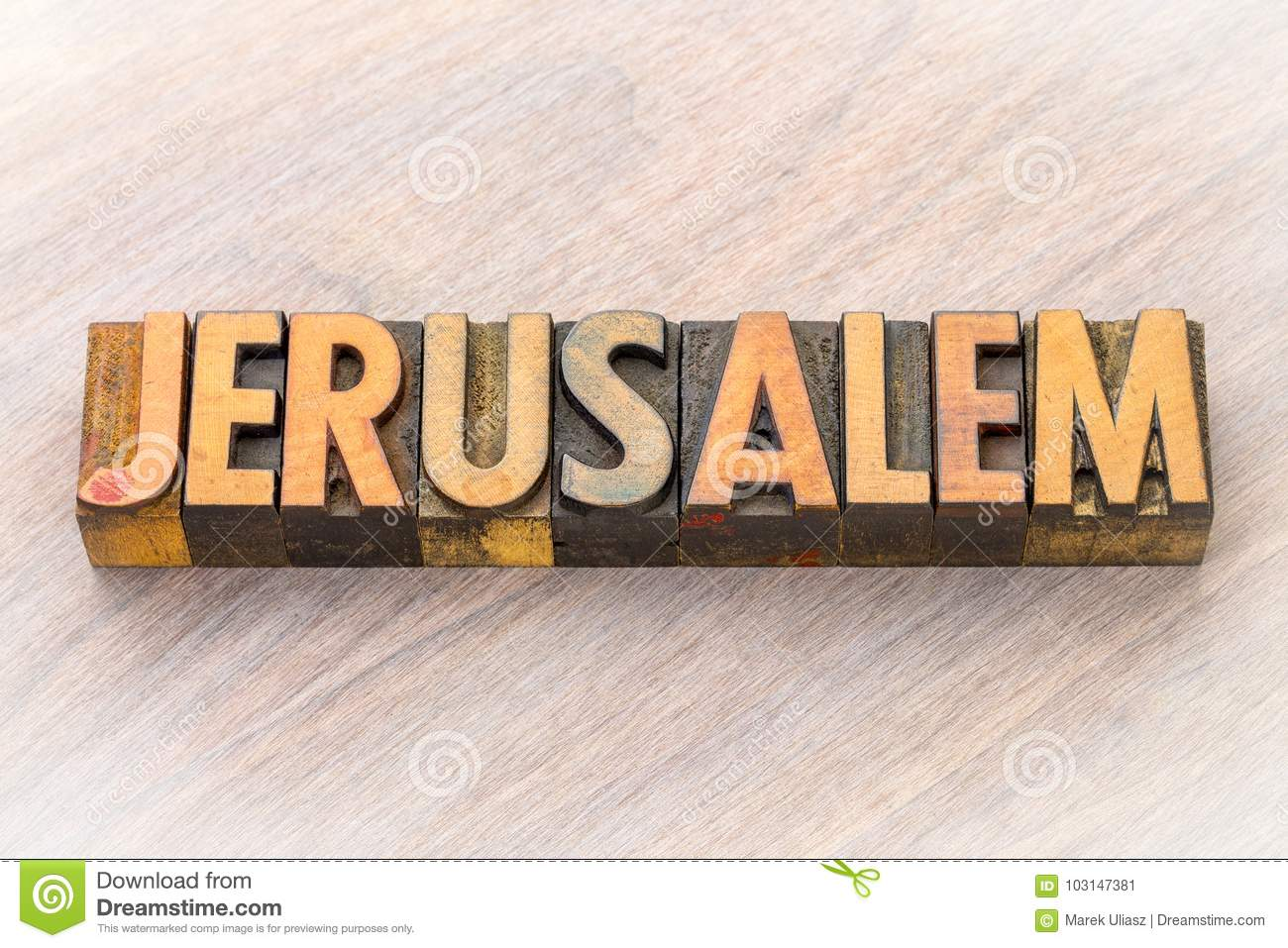 Jerusalem Word Abstract In Wood Type Stock Image - Image of