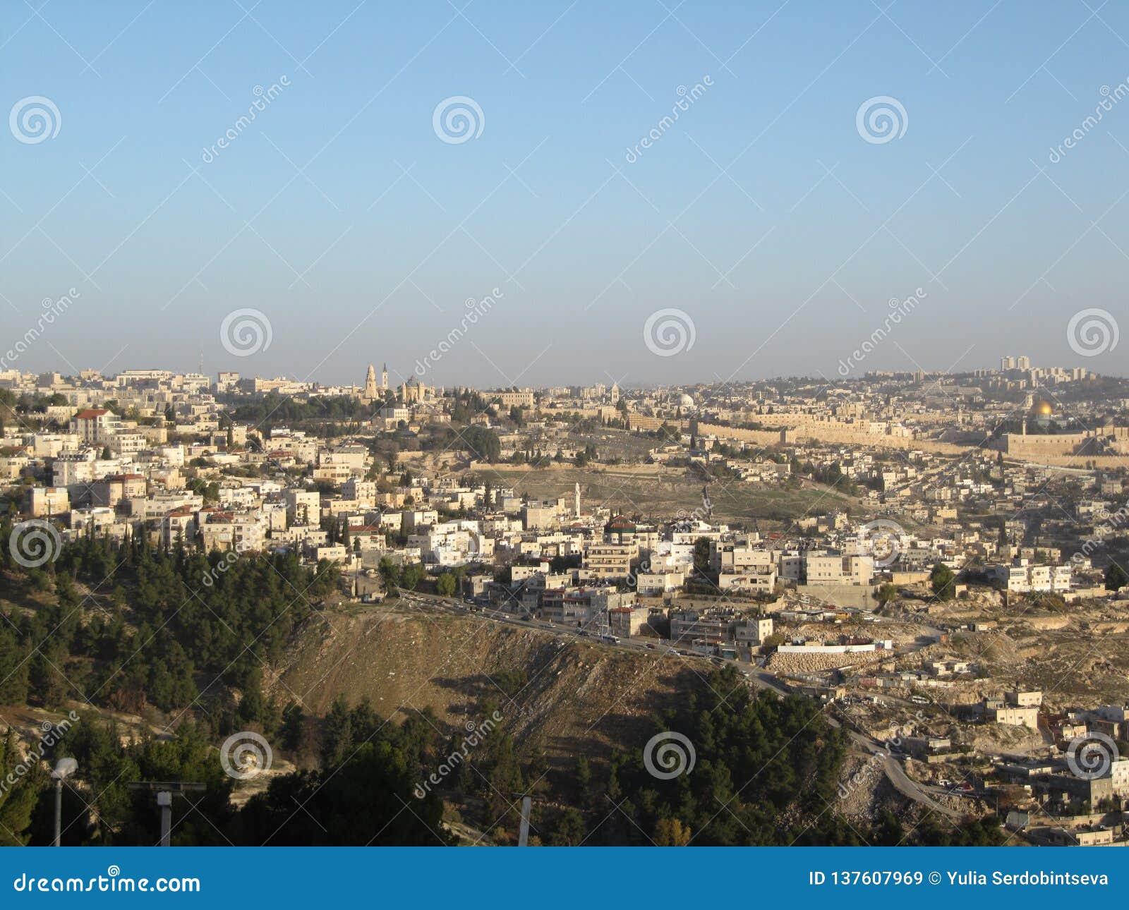 Jervis Pejzażu miejskiego wizerunek Jerozolima, Izrael z kopułą skała przy wschodem słońca