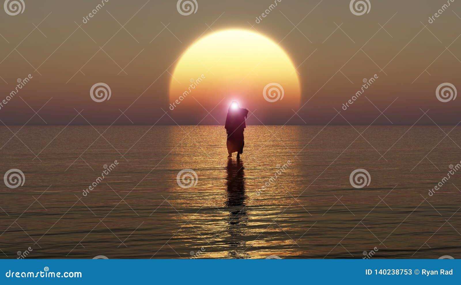 Jesús camina en el agua, milagros de Jesus Christ, el profeta de dios, representación 3D