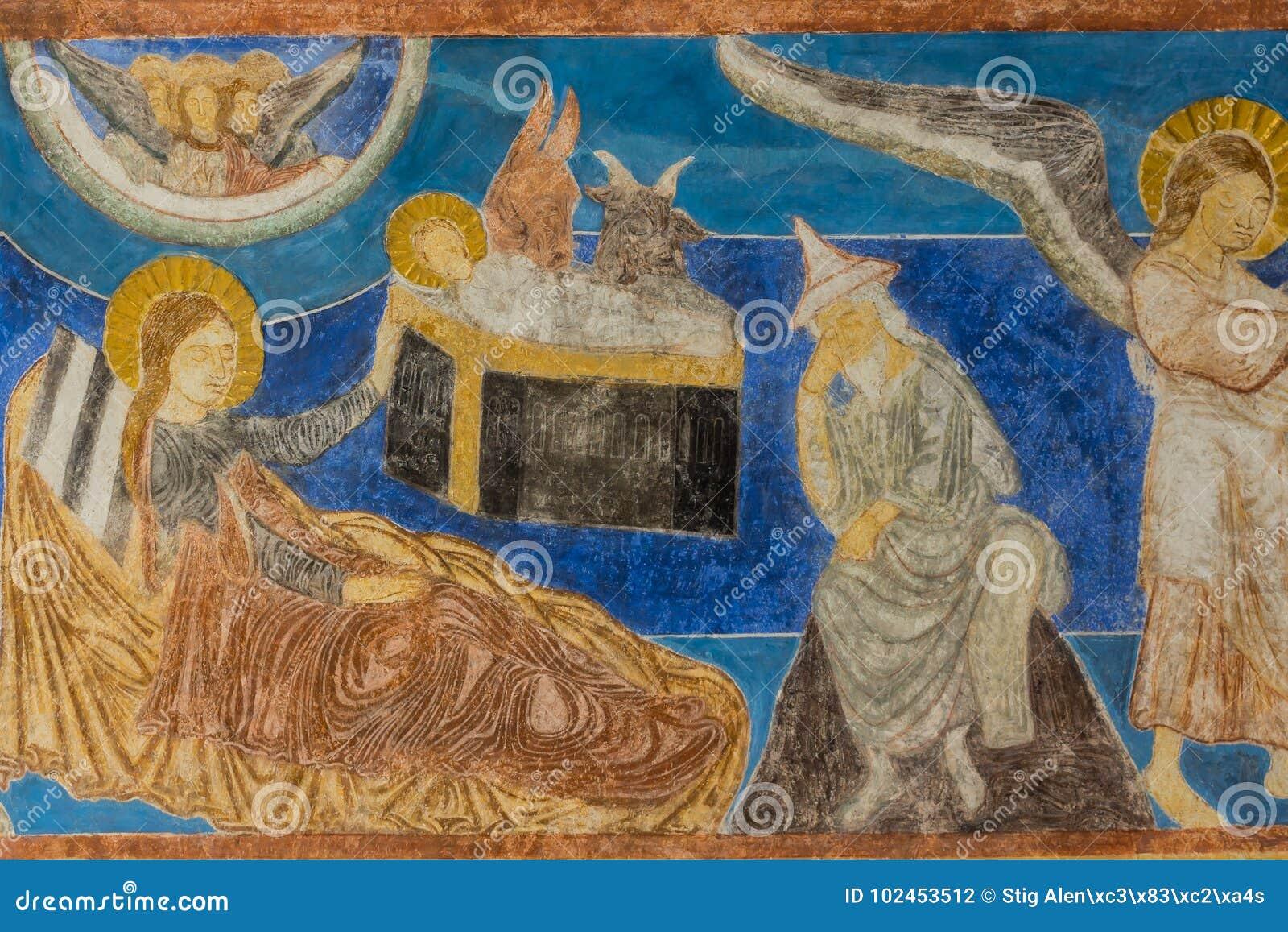 Jesús Nace En El Establo Pared-pintura Medieval En Un Sueco Foto de ...