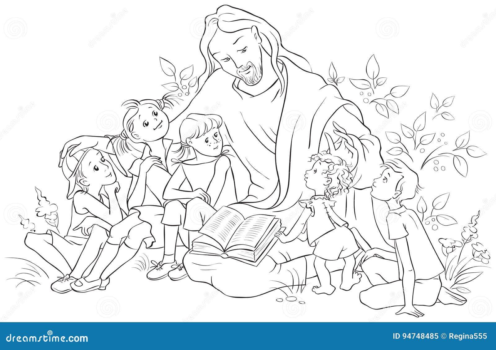 Jesús Que Lee La Biblia A Los Niños Página Que Colorea Ilustración ...