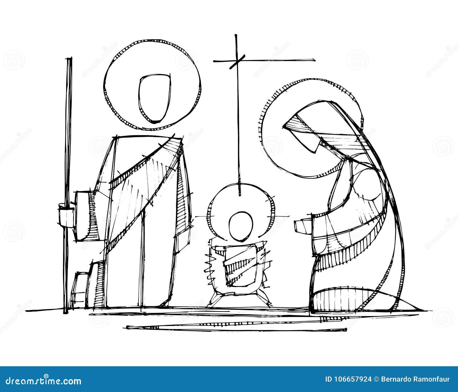 Jesús, Virgen María y Saint Joseph en la natividad