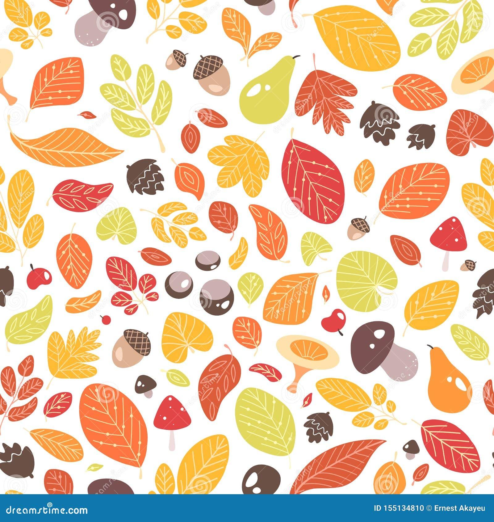 Jesień bezszwowy wzór z spadać liśćmi, wysuszonym ulistnienie, acorns, owoc, dokrętki lub pieczarki na białym tle,