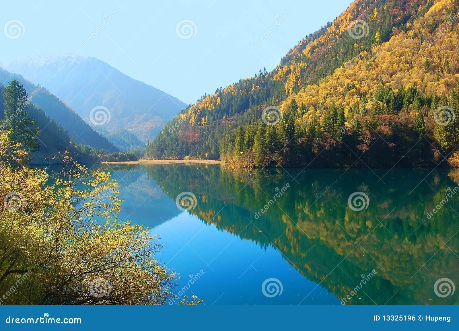 Jesień drzewo jeziorny halny