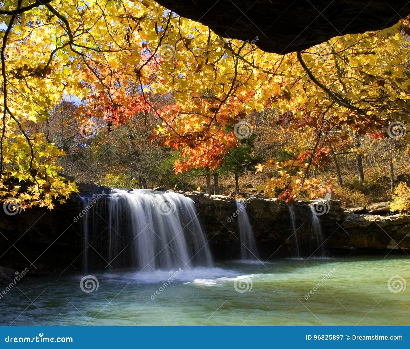 Jesień kolory przy Spada wodą Spadają, Spada Wodna zatoczka, Ozark las państwowy, Arkansas