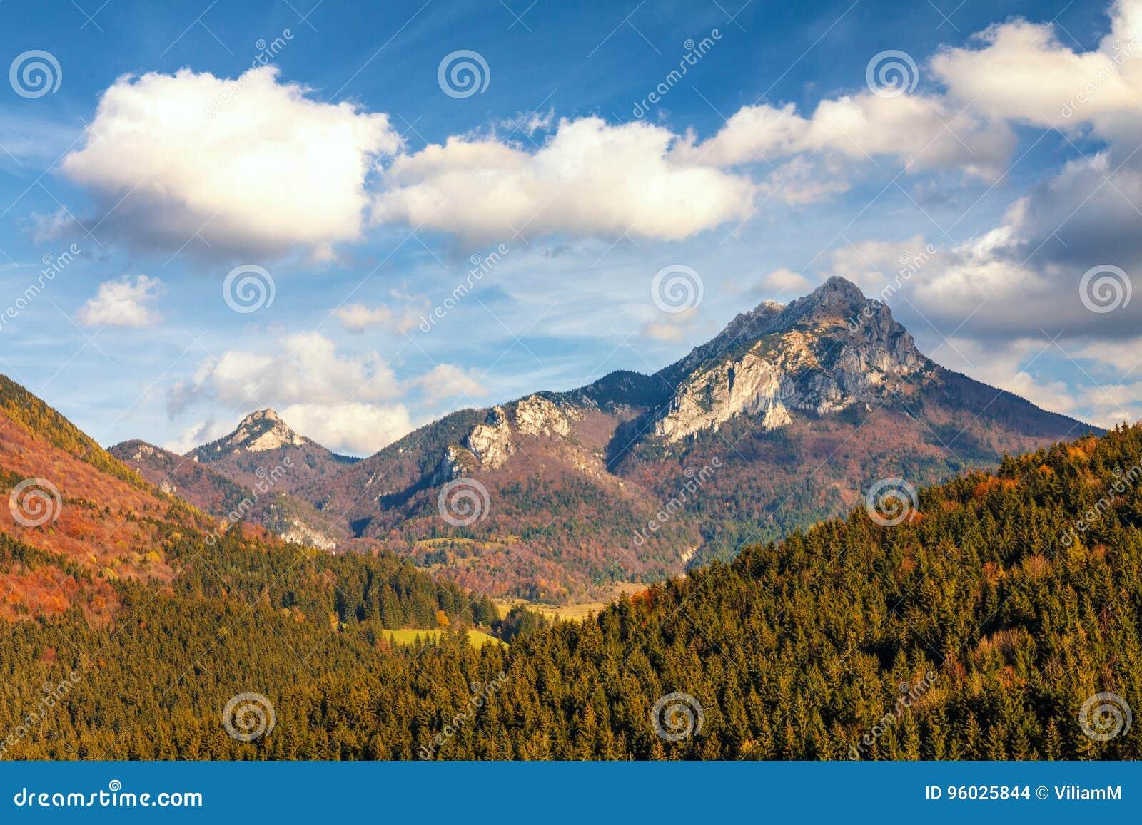 Jesień krajobraz w parku narodowym Mala Fatra