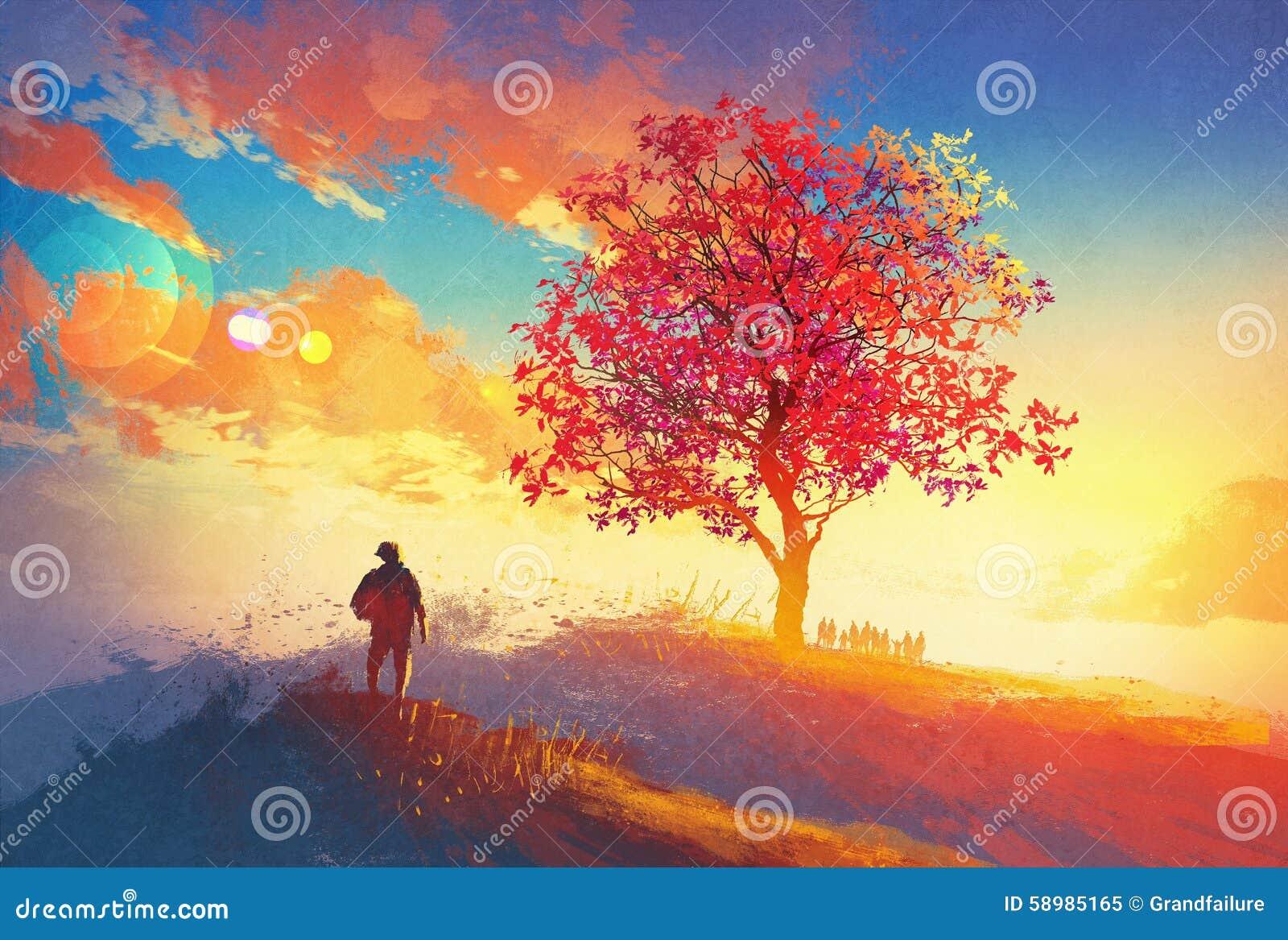 Jesień krajobraz z samotnym drzewem na górze