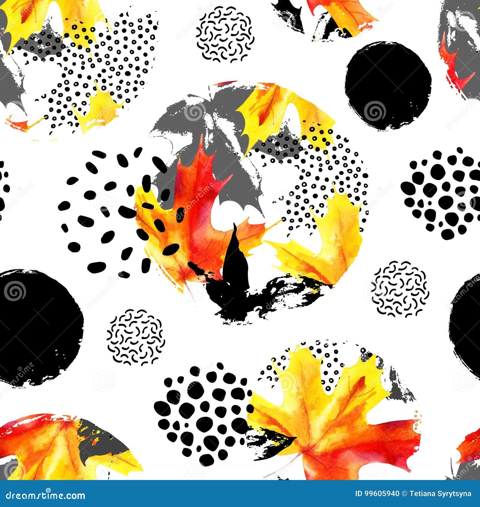 Jesień liści watercolour bezszwowy wzór Wręcza patroszonego liść klonowego, doodle, grunge, skrobanin tekstury w okręgach natural