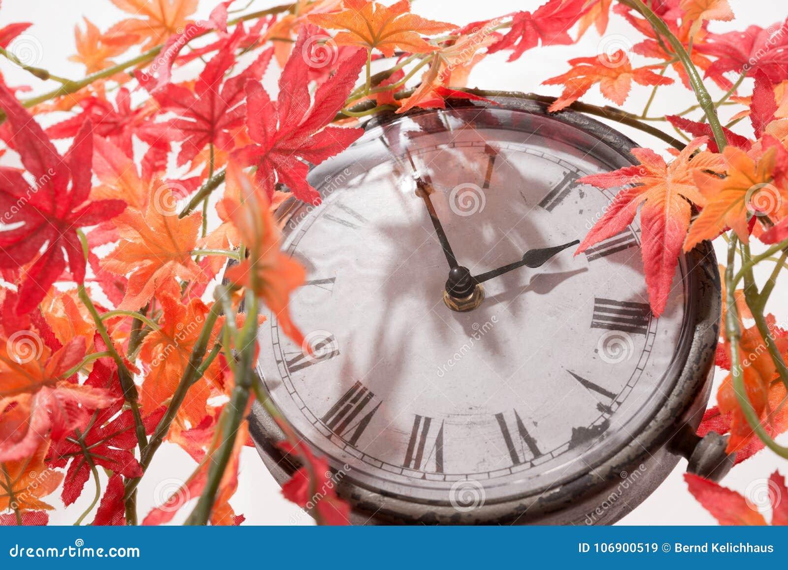Jesień liście i Retro zegar