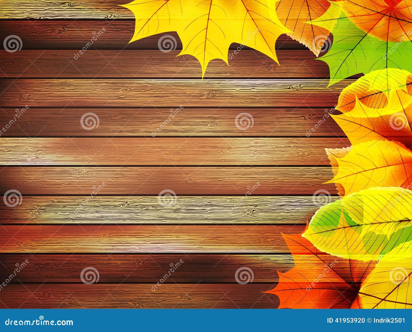 Jesień liście nad stary drewnianym plus EPS10