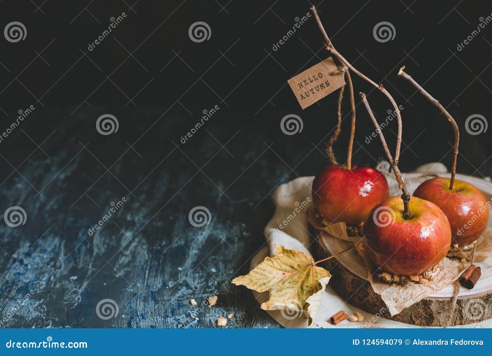 Jesień tła kopii przestrzeń Tradycyjni karmel jabłka z śniadanio-lunch kijami