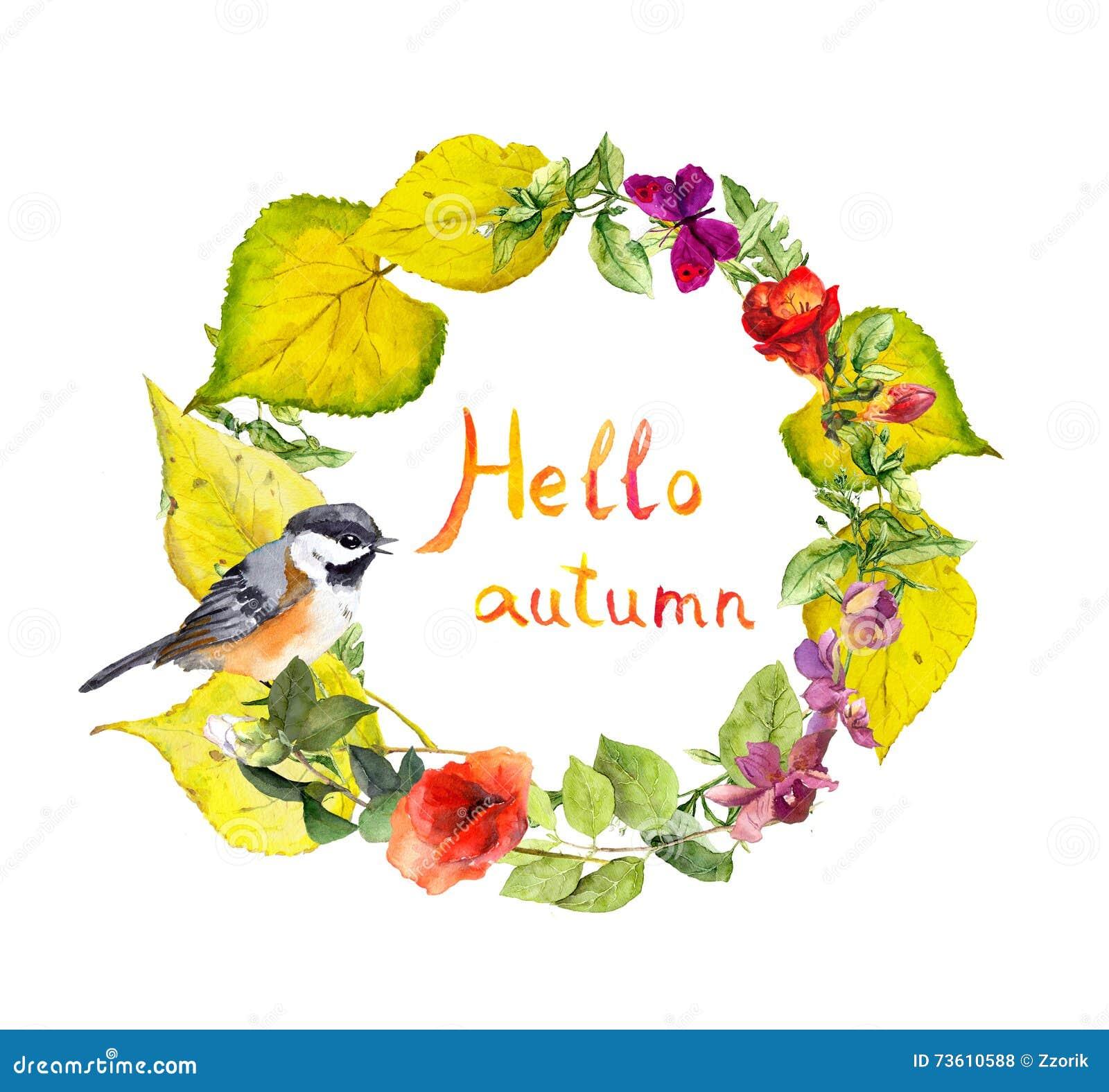 Jesień wianek - ptak, kwiaty, kolor żółty opuszcza Kwiecista akwareli granica