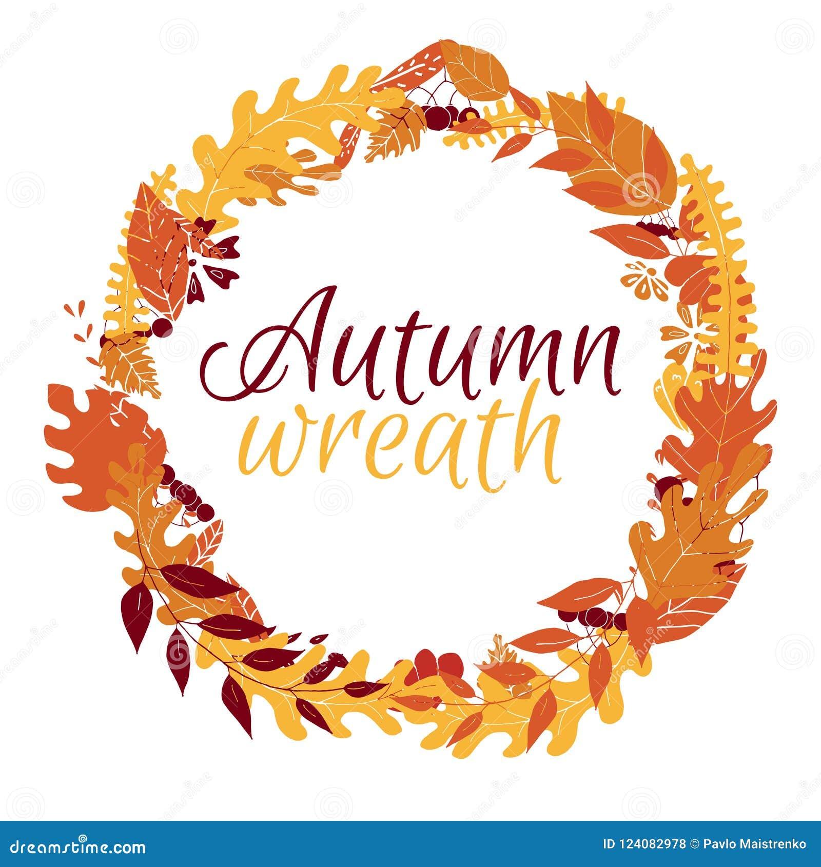 Jesień wianek z liśćmi i jagodami na białym tle