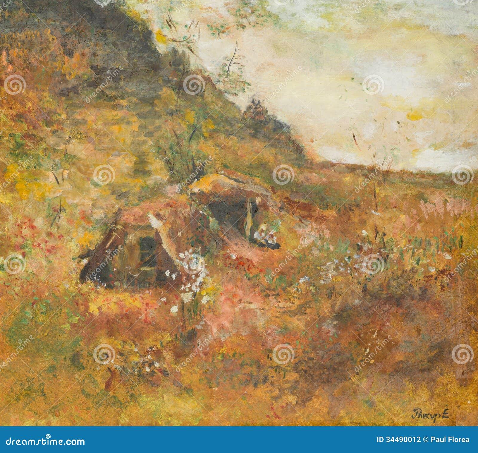 Jesień wiejski krajobraz, obraz olejny