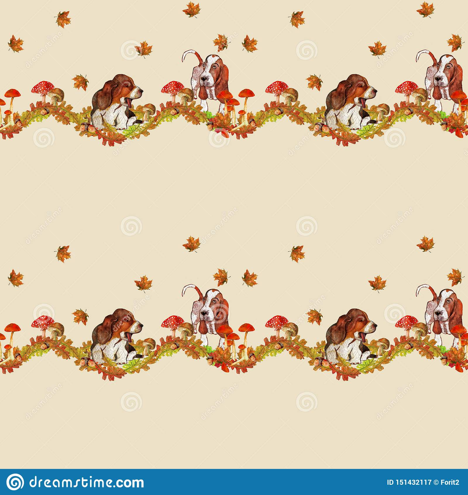Jesień wzór z psami i pięknymi liśćmi