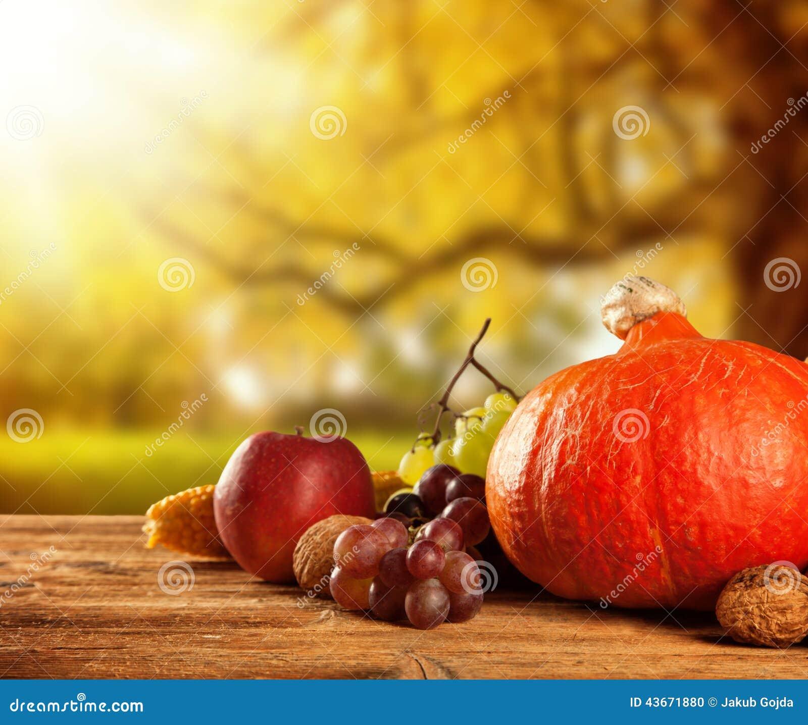 Jesień zbierający owoc i warzywo na drewnie