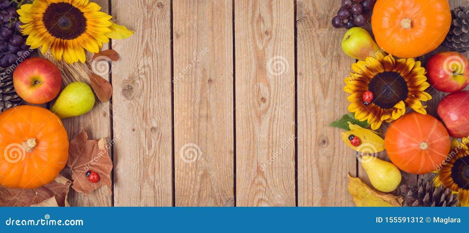 Jesieni żniwa pojęcie z banią, jabłkami i słonecznikami na drewnianym stole, Święto Dziękczynienia tło Odg?rny widok od above