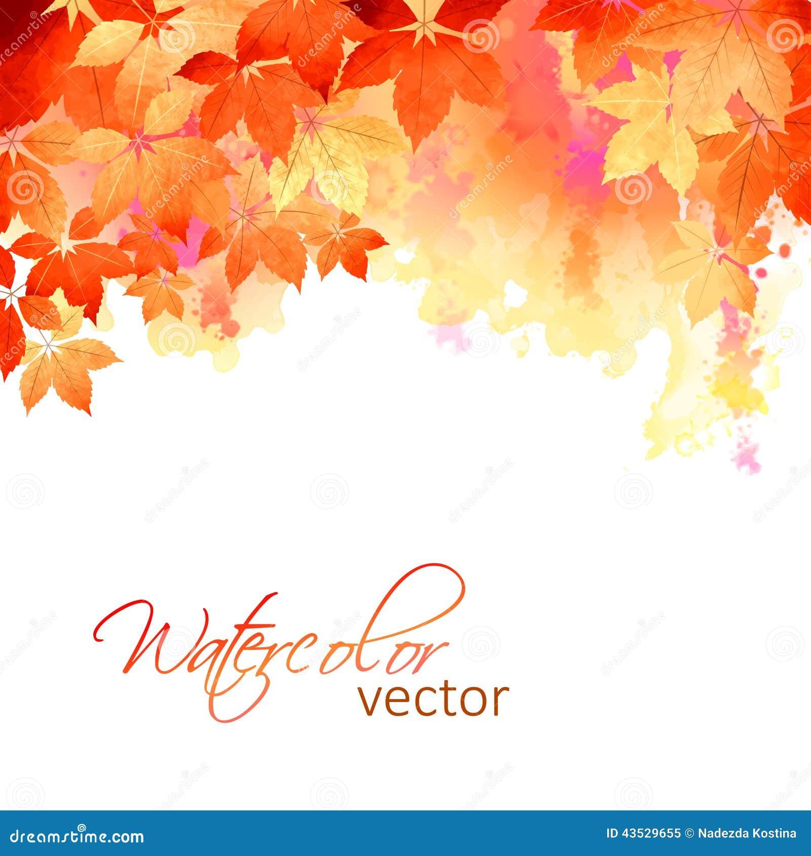 Jesieni akwareli spadku Wektorowi liście