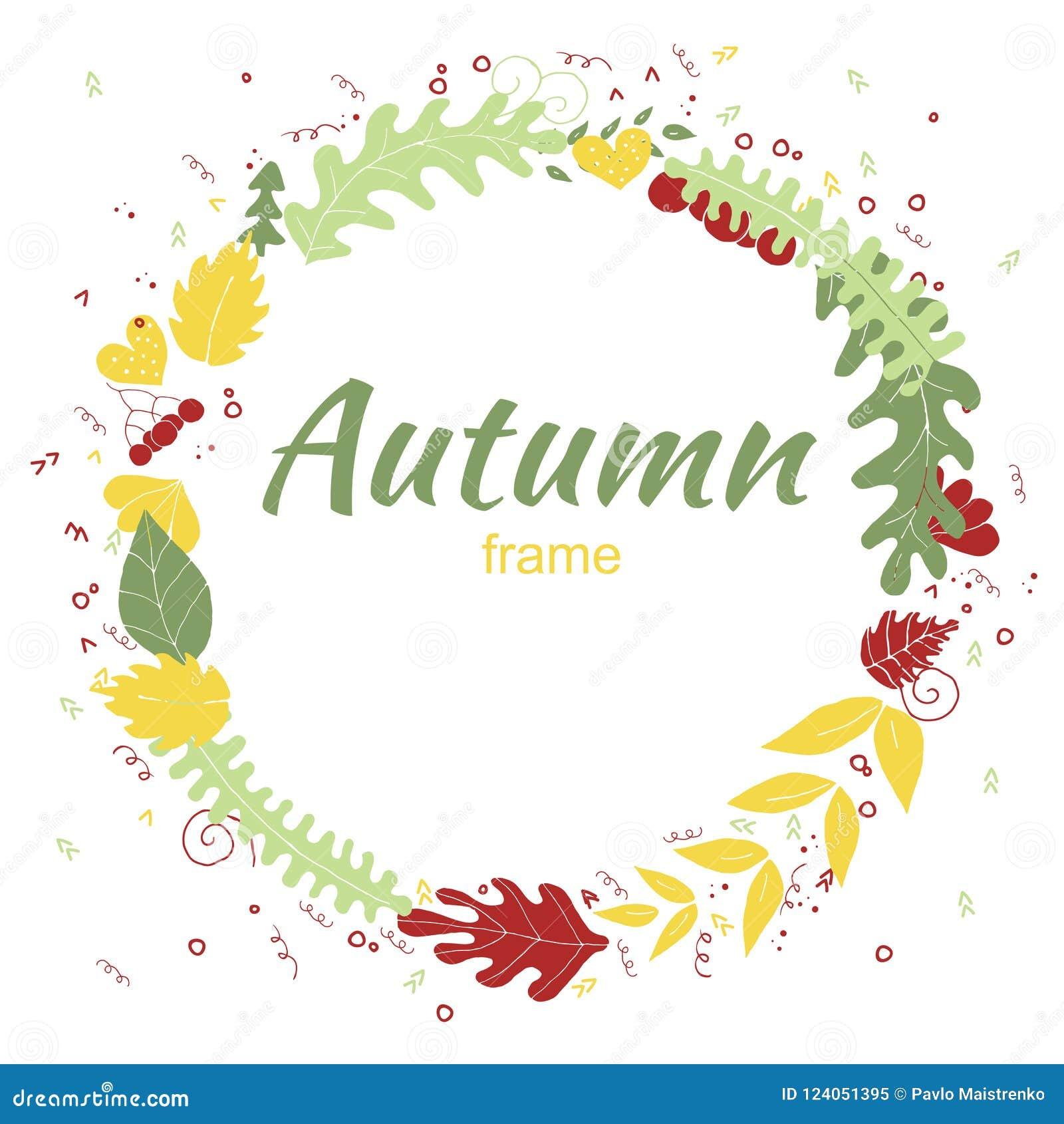 Jesieni kartka z pozdrowieniami w ręka rysującym stylu