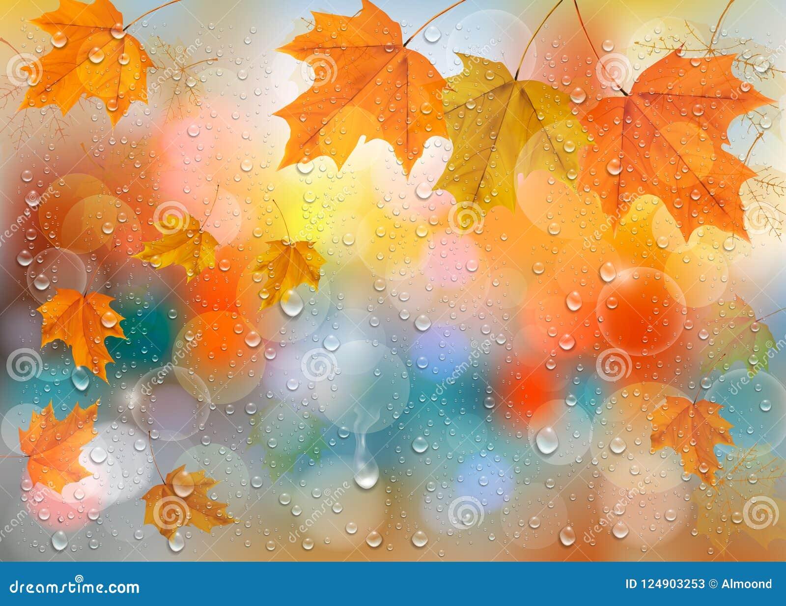 Jesieni kolorowy tło z liśćmi i raindrops